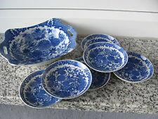 SERVICE CONFISERIES Porcelaine Japonaise OISEAUX  FLEURS TONS BLEUS