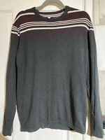 Men's FAT FACE Long Sleeve Top Thin Sweatshirt Size Medium (M) Dark Grey Striped