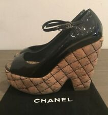 Authentic CHANEL Black Patent Leather Mary Jane Quilted Cork Wedge Heels 36.5