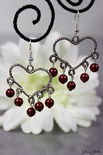 Glass Jewels Silber Ohrringe Ohrhänger Chandelier Perlen Herz Valentinstag #L015