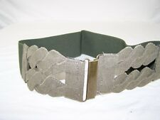 """Women's Wide Green Cummerbund Fashion Twist Waist Belt 3.25""""  L/XL"""