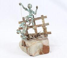Bijan Style Vintage Metal Sculpture Boy Flying Kite Jumping Rope Fence Dog Onyx