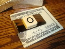 """"""" O """" MONOGRAM INITIAL faux Ivory Stainless Steel-Metal Money Clip wGift Box"""