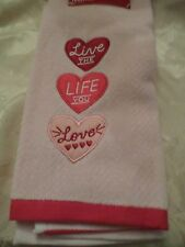 Happy Valentine Pink Embroider Heart Live the Life You Love Bath Hand Towel NWT