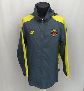 Villareal Xtep Nylon Training Football Jacket Yellow Hooded Rain Coat Size Men M