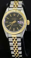 Rolex Datejust 79173 SS/18K gold automatic ladies watch w/ black dial K-serial #