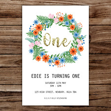 10 *PERSONALISED* invitations FIRST BIRTHDAY one FLORAL party BIRTHDAY invites