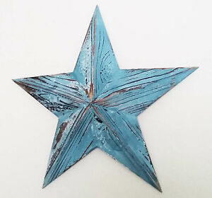 Medium wooden blue nautical hanging star wall art vintage style-52cm wide NEW