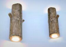 Set of wooden wall lights, sconces made of wood, log lamp, original wooden light