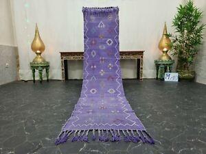 "Moroccan Handmade Cactus Silk Runner Rug 2'x8'1"" Sabra Abstract Faded Purple Rug"