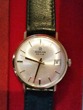 Superb Vintage Marvin Revue Swiss 9K Solid gold watch, boxed.