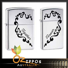 """Zippo """"Together Forever"""" 2 Piece Set Lighters, His & Hers 0465 -- Free Shipping"""