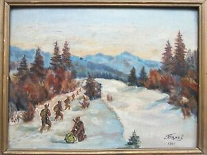 RUSSIAN SOVIET OIL HAND PAINTING MILITARY SOLDIERS ARMY