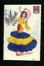 Embroidered clothing postcard Artist Elsi Gumier, Spain, Andalucia woman