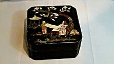 ANTIQUE JAPANESE WOOD LACQUERED APPLIED MOP,STONE&SQUARE TOP W/WOMAN &BOY