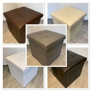 New Ottoman Stool Pouffe Storage Living Room Office Nursery Seat Leather Look