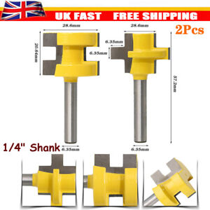 "2Pcs 1/4"" Shank Tongue & Groove Router Bit Set Woodwork Milling Chisel Cutter"