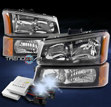FOR 2003-2006 CHEVY SILVERADO REPLACEMENT BLACK/AMBER HEADLIGHT LAMP W/8000K HID