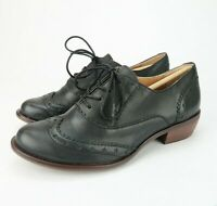 Latigo I-HEART Womens Black Leather Wingtip Oxfords Shoes Star Accents Size 6.5