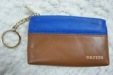 OROTON blue brown 100% leather two-tone coin purse key ring NWOT