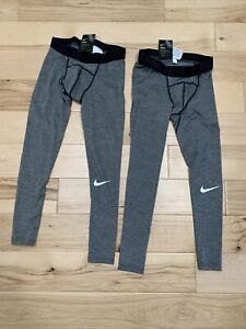 2 Pairs - Men's Nike Pro Cool Training Tights Heather Grey 811431-010 Size S