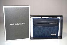 Michael Kors Men's Jet Set Signature Baltic Blue Tall Logo Card Case