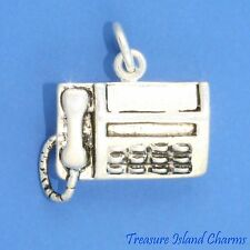 FAX TELEPHONE MACHINE OFFICE 3D .925 Sterling Silver Charm NEW MADE IN USA