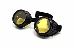 Steampunk Goggles Black with Yellow Lenses Cyber Vintage Retro Welding Glasses