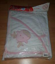 Baby badetuch mit kapuze Set 2 Teile  Waschlappen 100% Baumwolle Weiss Rosa