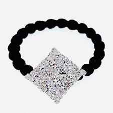 Ponytail holder Elastic Rhinestone Crystal Hair Tie Rope Silver Clear Rhombus N8