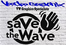 Salvare l'onda Divertente Auto Finestrino Paraurti VW Beetle Bug VDub Vinile Decalcomanie Sponsor
