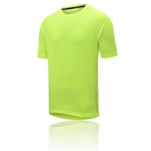 Higher State Mens Short Sleeve Running T Shirt Tee Top 2.0 - Green Yellow Sports