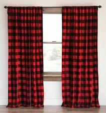 Buffalo Checkered 100% Polyester Curtain Window Treatment/Decor Red & Black