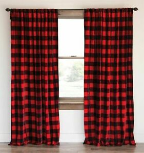 Buffalo Checkered 100% Polyester Curtain Window Treatment/Decor Red & Black