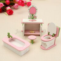 Wooden Doll House Miniature Bathroom Furniture Set Kids Dollhouse Play Toy Gift