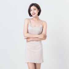 Women Silk Dress Silky Camisole Nightdress Full Slip Ruffle Underdress Sexy
