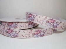 Ripsband 24mm Flowers rose/flieder