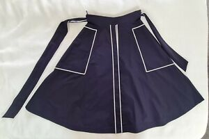 CH Carolina Herrera Navy White Trim Ribbon A Line Midi Cotton Skirt US 6 UK 10