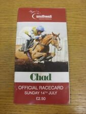 14/07/2014 Horse Racing Programme: Southwell (creased, results noted). Bobfranka