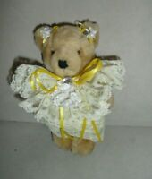 Vintage Jointed Teddy Bear in Yellow Lace Floral Bows & Rhinestone Details 7.5""