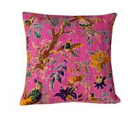 Decorative Kantha Cushion Cover Indian Handmade Boho Throw Pillow 100% Cotton 16