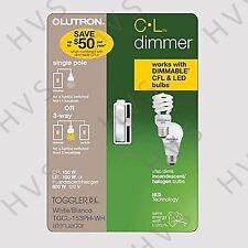 Lutron Electronics TGCL-153PH-WH Single-Pole/3-Way CFL/LED Toggle Dimmer, White