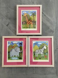 Sophie Harding Animal Prints Framed Set of 3 Giraffe, Elephant & Zebra Nursery