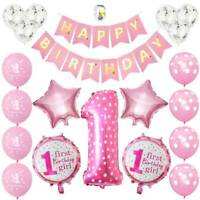 First 1st Birthday Number 1 Baby Kids Boy Girl Balloon Party Decor Set Pink/Blue