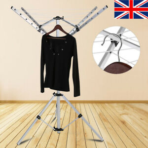 4 Arm Aluminium Rotary Camping Clothes Airer 16m Washing Line Drying Rack New UK