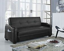 Storage Sofa Bed With Cupholders Black Faux Leather Living Room