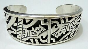 Aztec WARRIOR STERLING SILVER Taxco MAYAN MEXICO CUFF BRACELET SIGNED ACT