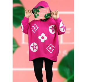 NEW Womens Oversize Luxury Designer Bold Print LAGENLOOK Hooded Sweatshirt Top