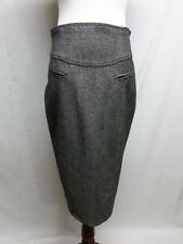 8 Nanette Lapore Wool Black Gray Tweed Straight Skirt with Kick Pleat Excellent