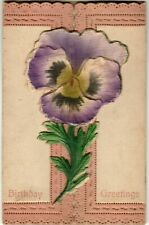 Antique Postcard, Birthday Greeting, Embossed Pansy Applique with Message inside